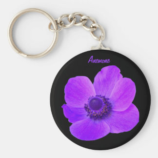 Customizable Purple Anemone Flower Keychain