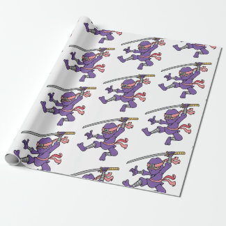 Customizable Purple Jumping Ninja Wrapping Paper
