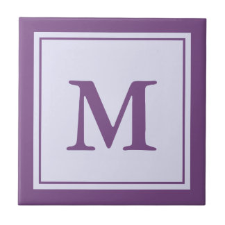 Customizable Purple Monogram Ceramic Tile