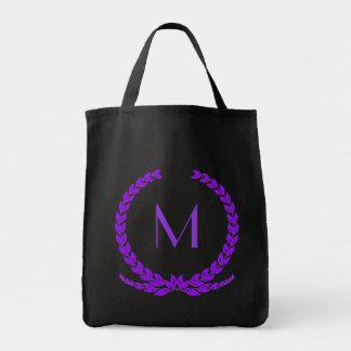 Customizable purple monogram leaf tote bag