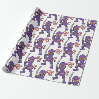 Customizable Purple Ninja Pattern Wrapping Paper