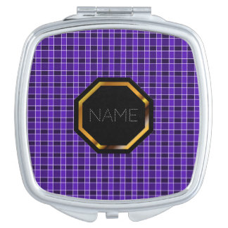 Customizable Purple Plaid Compact Mirror