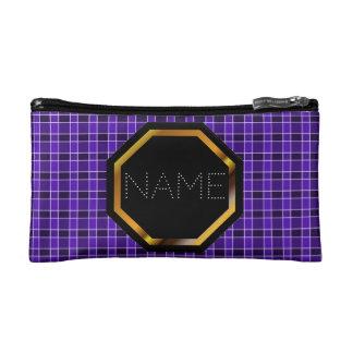 Customizable Purple Plaid Cosmetics Bag
