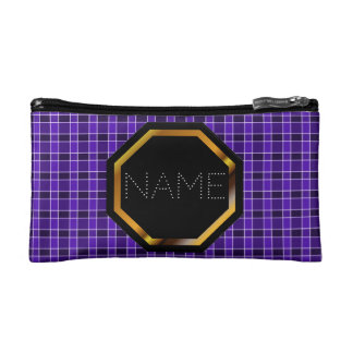 Customizable Purple Plaid Cosmetics Bag Cosmetic Bags