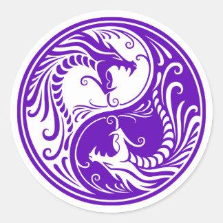Customizable Purple Yin Yang Dragons Classic Round Sticker