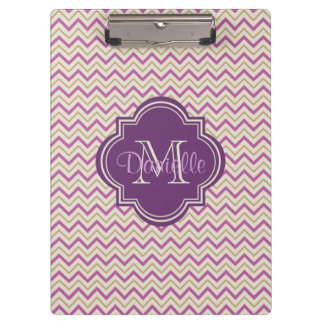 Customizable Quatrefoil Chevron Orchid Purple Tan Clipboard