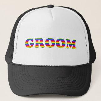 Customizable Rainbow Bride and Groom Tees, Gifts Trucker Hat