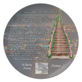Customizable Rainbow Bridge Photo Pet Memorial Party Plates
