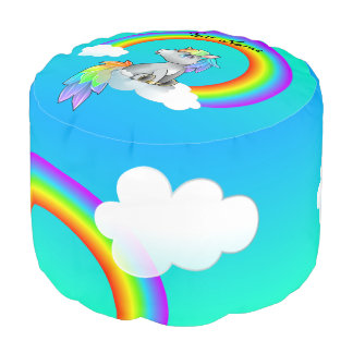 Customizable Rainbow Unicorn Kid's Bedroom Decor Pouf