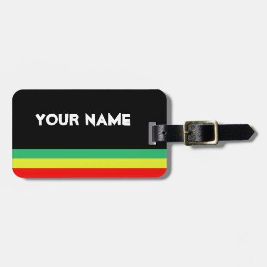 Customizable Rasta-Striped Luggage Tag
