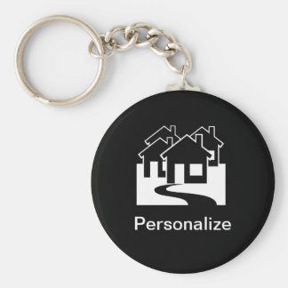 Customizable real estate houses symbol keychain