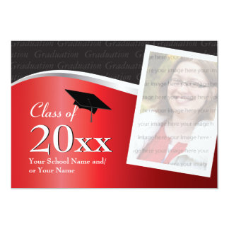 Customizable Red and Black Graduation Invitation