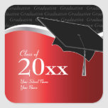 Customizable Red and Black Graduation Sticker