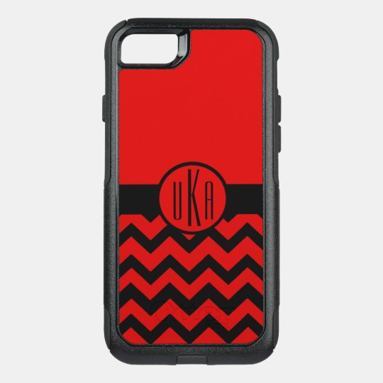 Customizable Red and Black Monogram OtterBox Commuter iPhone 7 Case