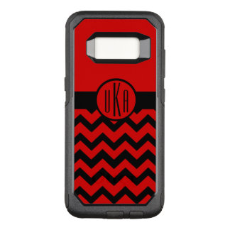 Customizable Red and Black Monogram OtterBox Commuter Samsung Galaxy S8 Case