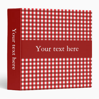 Customizable Red and White Gingham Pattern Binder