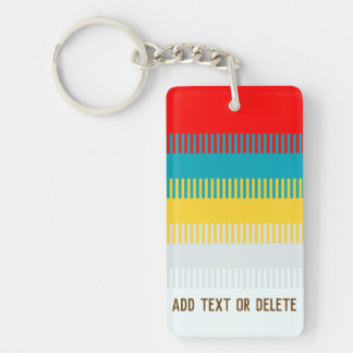Customizable Red Blue Yellow White Gray Stripes Keychain