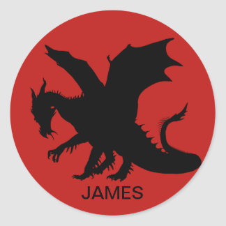 Customizable Red Dragon Silhouette Sticker