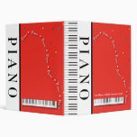 "Customizable Red Grand Piano 1"" Binder"