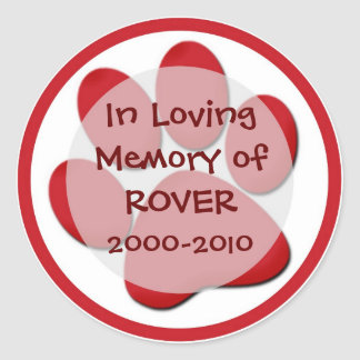 Customizable red paw print sympathy stickers