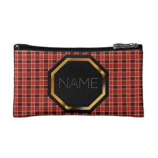 Customizable Red Plaid Cosmetics Bag