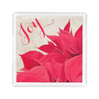 Customizable Red Poinsettia Acrylic Tray