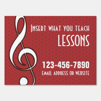Customizable Red Treble Clef Yard Sign