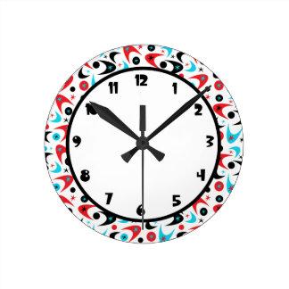 Customizable Retro Boomerangs Round Clock