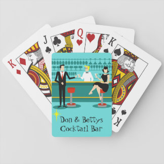 Customizable Retro Cocktail Lounge Playing Cards