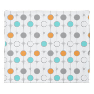 Customizable Retro Dots and Starbursts Duvet Cover