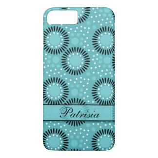 Customizable Retro Flowers And Dots Pattern:Teal iPhone 7 Plus Case