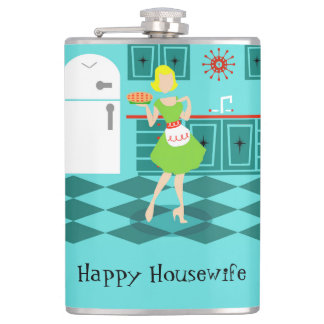 Customizable Retro Happy Housewife Flask