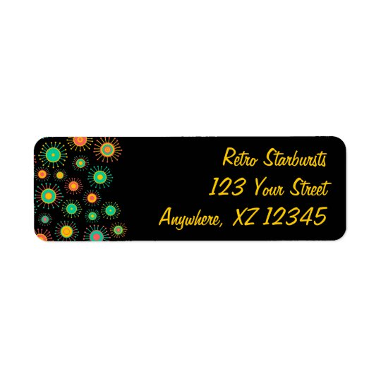 Customizable Retro Starbursts Return Address Label