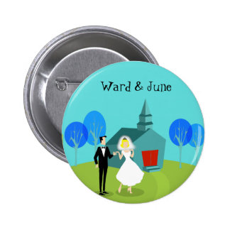 Customizable Retro Wedding Couple Button