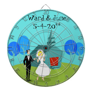 Customizable Retro Wedding Couple Dart Board