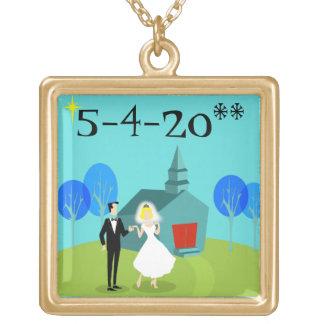 Customizable Retro Wedding Couple Necklace