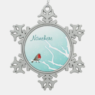 Customizable: Robin in a tree Snowflake Pewter Christmas Ornament