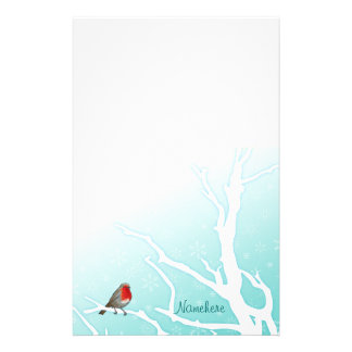 Customizable: Robin in a tree Stationery Design
