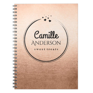 Customizable Rose Gold and Black Note Books