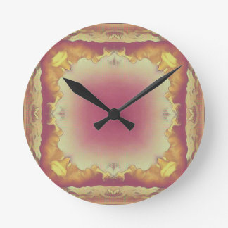 Customizable Rose Yellow Framed Center. Round Clock