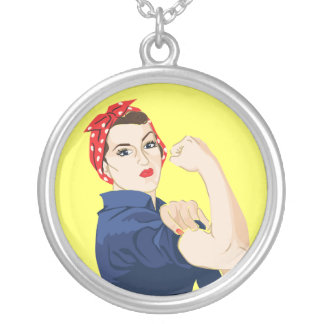 Customizable Rosie Riveter Silver Plated Necklace
