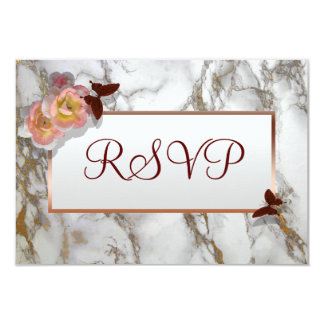 Customizable RSVP wedding card faux gold marble