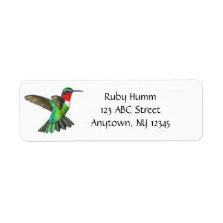 Customizable Ruby Throated Hummingbird Avery Label Return Address Label
