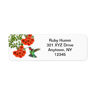 Customizable Ruby Throated Hummingbird on Trumpet Return Address Label