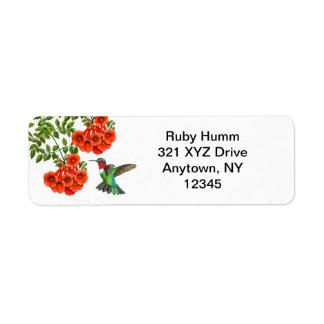 Customizable Ruby Throated Hummingbird on Trumpet Return Address Label