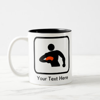Customizable Rugby Player Logo Two-Tone Coffee Mug