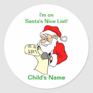 Customizable Santa Claus Nice List Stickers