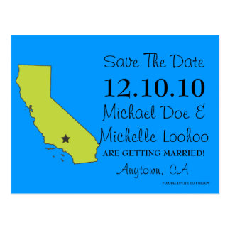 Customizable Save the Date State - CALIFORNIA Postcard