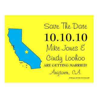 Customizable Save the Date State - CALIFORNIA Post Card