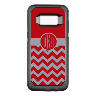 Customizable Scarlet and Gray Monogram OtterBox Commuter Samsung Galaxy S8 Case